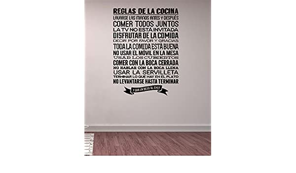 Amazon.com: pdasd Quotes Art Decals Vinyl Removable Stickers Modern Design Reglas De La Cocina Spanish Kitchen Rules Wall Sticker Quote Home Decor Wall ...