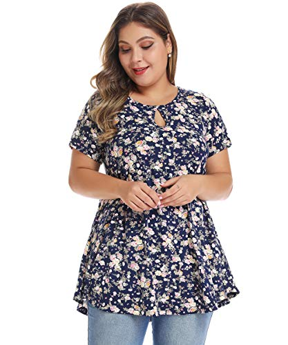 MONNURO Womens Short Sleeve Flare Swing Tunic Tops Plus Size Casual Loose Fit Shirts Blouses Floral03 L