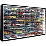 JackCubeDesign Hot Wheels 1/64 Scale Diecast Display Case Storage Cabinet Shelf Wall Mount Rack for 56 Hot Wheels(Black, 24.61 x 13.78 x 2.05 inches)-MK184
