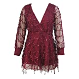 YFFaye Women's Burgundy Flowing Sequins Long Sleeves Romper