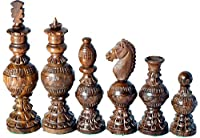 "Chess Set Globe Design King 5"" 32 Wooden Handmade Chess Pieces"
