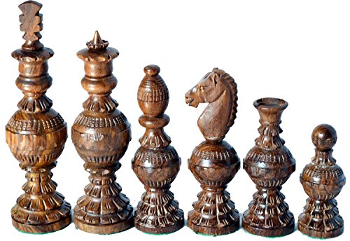 "Chess Set Globe Design King 5"" 32 Wooden Weighted Handmade Chess Pieces"