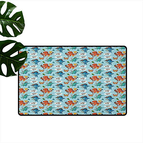 Pirates Large Outdoor Indoor Rubber Doormat Pirates Crocodile Octopus Shark Crab Seagulls Parrot Bottle of Rum Cartoon Style Mildew Proof W15 x L23 Multicolor