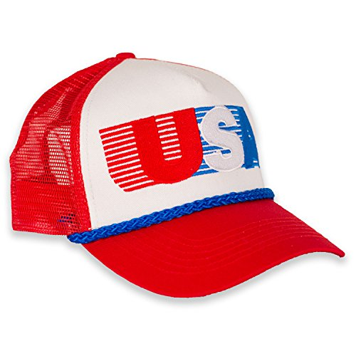 USA Patriotic Snapback Cap - American Retro Mesh Hat (Red/White/Blue) - Retro Hat