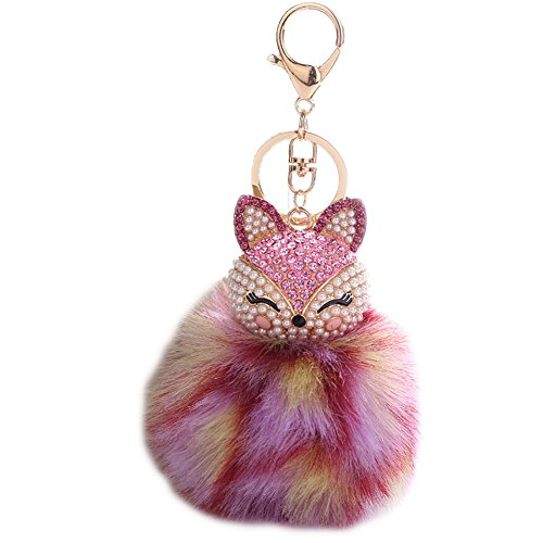HXINFU Real Rabbit Fur Pom Pom Ball Keychain Fox Head Fluffy Ball Keychain