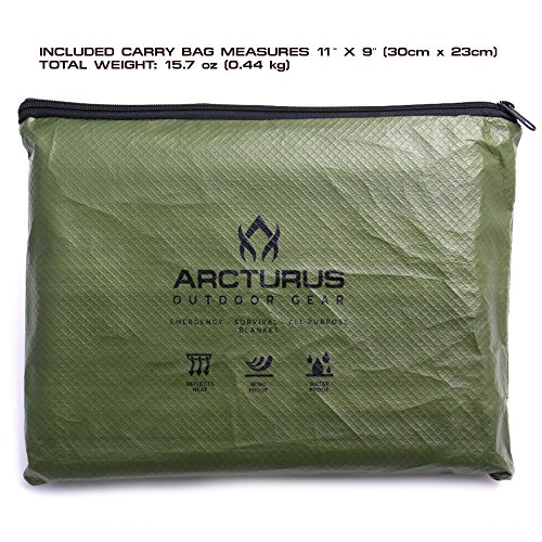 "Arcturus All Weather Outdoor Survival Blanket - All Purpose, Thermal, Reflective, Emergency - 60"" x 82"" (Olive Green)"