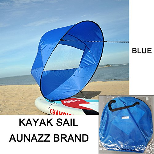 AUNAZZ Downwind Wind Sail Kit 42 inches Kayak Canoe Accessories, Easy Setup & Deploys Quickly, Compact & Portable Blue