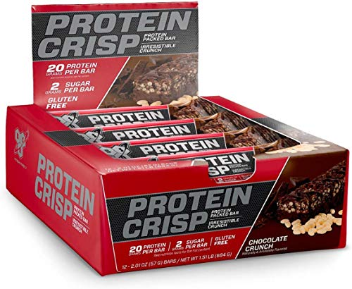 BSN Protein Crisp Bar by Syntha-6, Low Sugar Whey Protein Bar, 20g of Protein, Chocolate Crunch, 12 Count