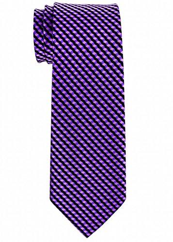 Retreez Wavy Zig Zag Stripe Pattern Woven Boy's Tie (8-10 years) - Purple
