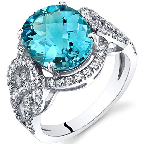 Swiss Blue Topaz Halo Statement Ring in 14K White Gold (4.00 - Gold Topaz Ring 14k White Blue Ct 4