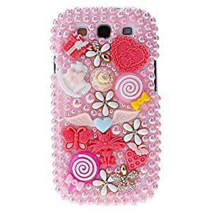 TOPQQ ships in 48 hours Pearl and Embossed Flowers&Butterflies Pattern Hard Back Cover Case with Glue for Samsung Galaxy S3 I9300 , Pink
