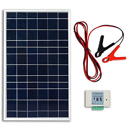 10w Solar Panel - ECO-WORTHY 10W PV Polycrystalline Solar Panel System kit W/ 3A Charge Controller & 30A Battery Clips