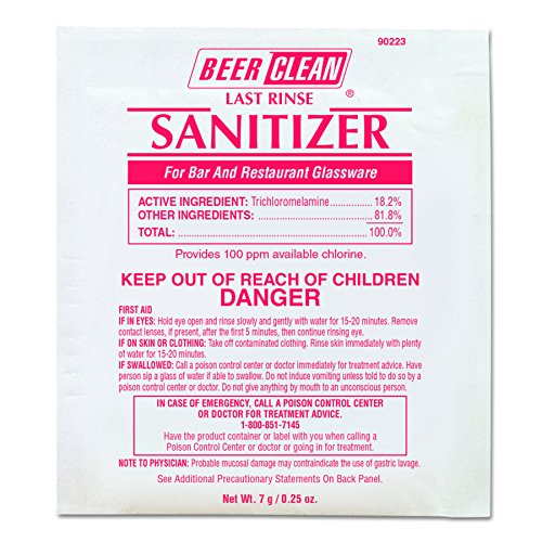 Last Rinse Glass Sanitizer.25oz Powder Packet (100 Pack) (Mineral Solvent)