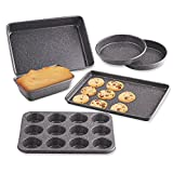 Cook N Home 02585 6 Heavy Gauge Nonstick Bakeware Set, Cake/Cookie/Muffin/Loaf/Roasti, 6 Piece, Black