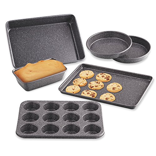 Cook N Home 02585 6-Piece Heavy Gauge, Cake/Cookie/Muffin/Loaf Nonstick Bakeware Set, Black
