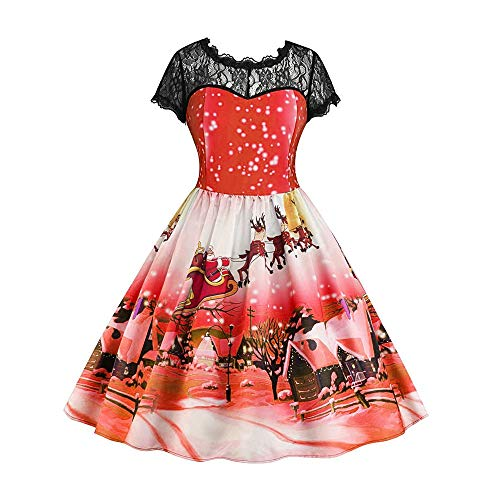 Christmas Women Dress Duseedik Ladies Fashion Lace Short Sleeve Snow Print Vintage Swing Skirt