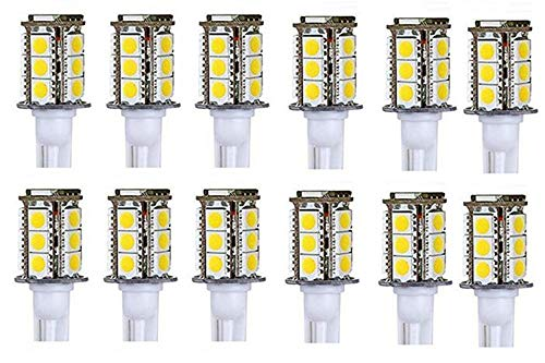 (12-Pack) T5 T10 Wedge Base LED Light Bulbs High Brightness 12VAC/DC 3Watt for Outdoor Landscape Lighting Deck Stair Step Path Lights and Automotive RV Travel Tailer Ligh (White 5000K) ()