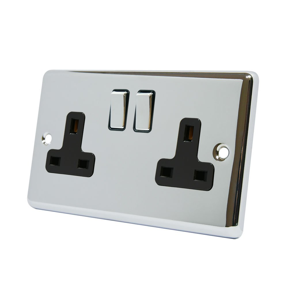 AET CPC2GSOCBC 13 A 2-Gang Polished Chrome Classical Double Plug Socket with Black Insert Metal Rocker Switches