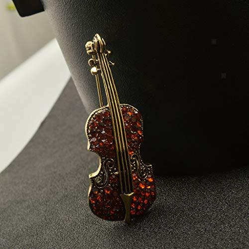 Elegant Music Violin Austrian Crystal Rhinestone Brooch Pin Fashion Jewelry Gift (Color - Brown) Austrian Crystal Hat Pin