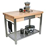 """Cucina Grande Prep Table with Butcher Block Top Size / Drop Leaves: 60"""" W x 28"""" D / 1 Included, Casters: Included"""