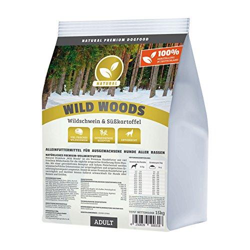 Hundeland Natural | Wild Woods | 1 kg | Wildschwein + Kartoffel | getreidefreies Hundefutter | Trockenfutter für alle Hunderassen | viel frisches Fleisch | artgerecht & besonders gut verträglich