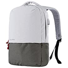 Bolang Water Resistant Casual Daypack School Laptop Backpack with USB Charging Port 8849 (White/Green, One Size)
