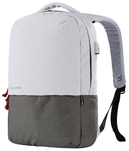 Green Wheeled Backpacks (BOLANG Water Resistant Casual Daypack College Backpack with USB Charging Port 8849 (White/Green))