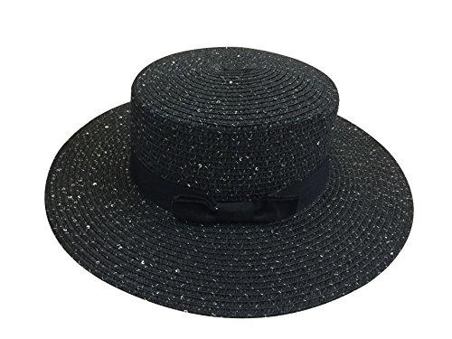 ACVIP Women's Straw Weave Sequined Bowtie Floppy Porkpie Sun Hat 4 Colors (Sequined Straw)