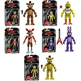 "Five Nights at Freddy's 5"" Freddy, Chica, Foxy, Bonnie, Gold Freddy Action Figures! Set of 5"