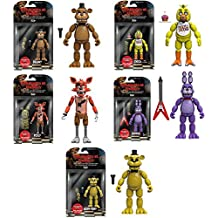 """Five Nights at Freddy's 5"""" Freddy, Chica, Foxy, Bonnie, Gold Freddy Action Figures! Set of 5"""