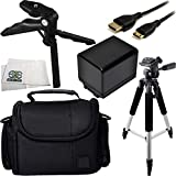 Essential Accessory Kit for Canon Vixia HF M50, M52, M500, R30, R32, R40, R42, R50, R52, R300, R400, R500. Includes Replacement BP-727 Battery + Full Size Tripod + Pistol Grip/Table Top Tripod + Mini HDMI Cable + Carrying Case + Microfiber Cleaning Cloth
