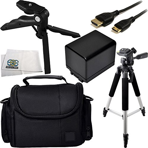 Essential Accessory Kit for Canon Vixia HF M50, M52, M500, R30, R32, R40, R42, R50, R52, R300, R400, R500. Includes Replacement BP-727 Battery + Full Size Tripod + Pistol Grip/Table Top Tripod + Mini HDMI Cable + Carrying Case + Microfiber Cleaning Cloth by SSE