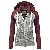 Charberry Women's Fashion Hoodie Sweatshirt Hooded Coat Windproof Zipper Jacket (XXL, Red)