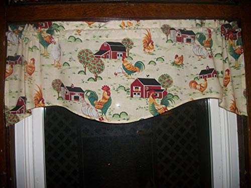 Chicken Rooster Farm Country Kitchen Scalloped toile Farmhouse fabric decor treatment covering window topper curtain Valance