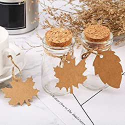 Rurah 100 Pieces Leaf Kraft Paper Christmas Thanksgiving Wedding Party Favor Gift Tags Gift Wrapping