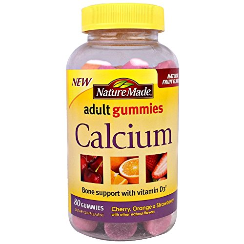 (Nature Made Calcium Adult Gummies, Cherry, Orange & Strawberry 80 ea (Pack of 2))
