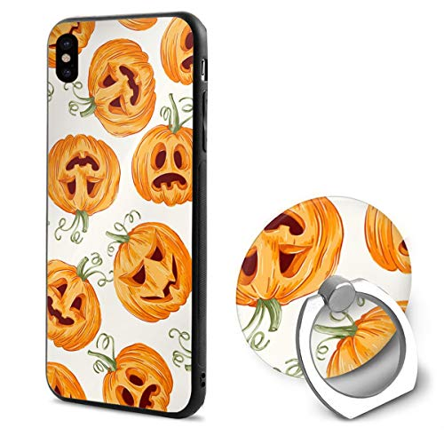 Halloween Pumpkin Seamless Pattern iPhone X Phone Case Soft Flexible TPU Back Cover 5.8 Inch and Ring -