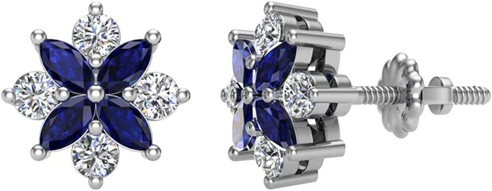 Marquise Sapphire and Round Diamond Stud Earrings 14K White Gold 0.90 carat total weight