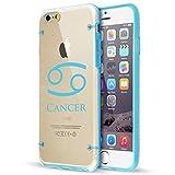 Apple iPhone Hybrid Slim Clear Hard TPU Bumper Case Cover Cancer Zodiac Horoscope Birth Sign (Light Blue For iPhone 6 / 6s)