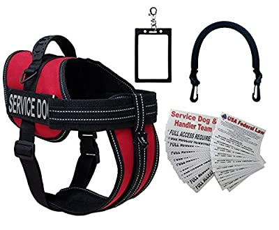 ActiveDogs Service Dog Vest Harness + Free Clip-on Bridge Handle + Free Clip-on ID Carrier + Free 30 ADA/Federal Law Information Cards + Free Reflective Service Dog Patches