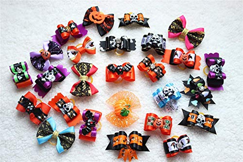 20pcs/10pairs Dog Hair Bows Halloween Designs Dog Topknot Bows Rhinestone Centre Pet Dog Grooming Bows Supplies Dog Hair -