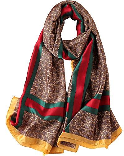 - NUWEERIR Womens 100% Mulberry Silk Scarf Long Satin Scarf Fashion Designer Scarf Lightweight Neck Wear