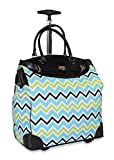 Ever Moda Multi-color Chevron Travel Bag with Wheels Luggage Carry On for Laptop (Green)