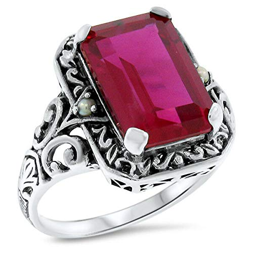 5.5 CT. RED LAB Ruby Antique Design .925 Sterling Silver Ring Size 7 KN-4438