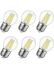 Lampadine Filamento a LED E27,Forma C35/G45,4W Equivalenti a 40W,470Lm,Luce Bianca Calda 2700K,Risparmio Energetico,Non Dimmerabile