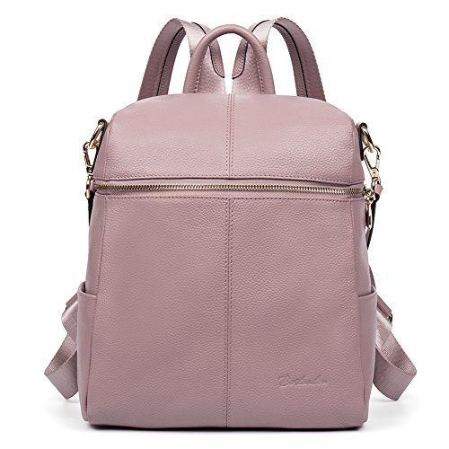 BOSTANTEN Geniune Leather Fashion Backpack Purse Casual School Bags for Women Pink by BOSTANTEN