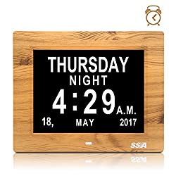 SSA Day Alarm Clock Memory Loss Digital Calendar Day Clock with Extra Large Non-Abbreviated Day & Month. Perfect for Seniors 8 Fathers Day Gifts(Wood pattern)