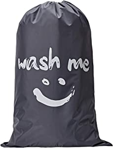 NISHEL Wash Me Laundry Bag, 28x40 inches Rips & Tears Resistant Large Dirty Clothes Storage Bag, Machine Washable, Heavy Duty Laundry Hamper Liner for College Students, Grey