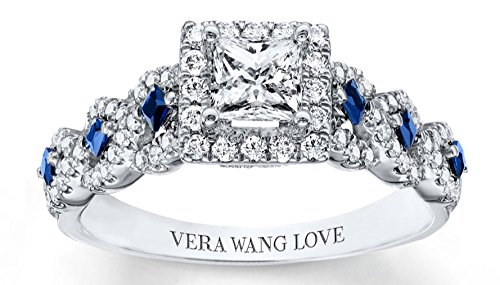 Total Lab Ct (Vera Wang Love 14k White Gold Moissainite Diamond Blue Sapphire Engagement Wedding Women Ring,US size 4 to 12 available)