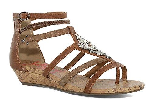 Jellypop Johanna Womens Gladiator Sandals Cognac Multi 10